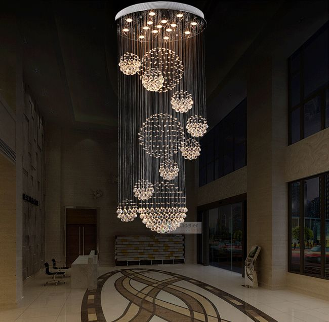 Various Sizes Fit 110 240V Modern Spiral Sphere Crystal Chandelier ...