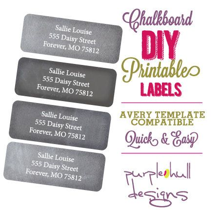 Stickers Chalk Labels Chalkboard Return by PurpleHullDesigns - address label format
