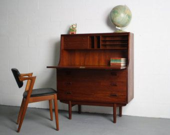 1960 S Danish Modern Teak Secretary Desk
