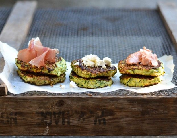 Summer Zucchini Fritters with Feta and a variety of Toppings from A Tasty Love Story