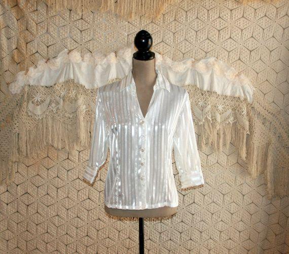 Vintage White Blouse Dressy Blouse Silver by MagpieandOtis on Etsy
