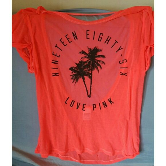VS Love Pink hot pink burnout tee 1986 palm tree logo, low back, very soft and light weight cotton blend, slightly sheer. Loose fitting, will also for small and med. Pre loved but still in good condition. PINK Victoria's Secret Tops Tees - Short Sleeve