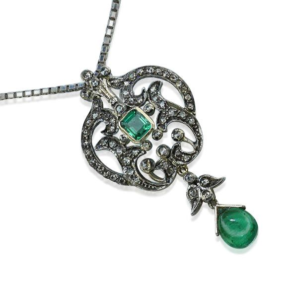 Schmuck diamanten  Smaragd-Diamant-Anhänger mit 0,88ct Diamanten und 3,69ct Smaragde ...
