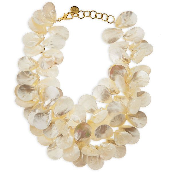 NEST Jewelry Mother-of-Pearl Petal Necklace (€315) ❤ liked on Polyvore featuring jewelry, necklaces, jewels, pearl, charm chain necklace, lobster clasp charms, mother of pearl necklace, jewel necklace and lobster claw clasp charms