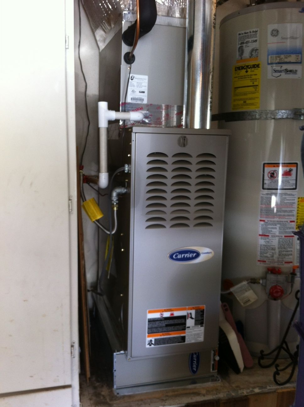This Carrier furnace was installed in garage, vertical