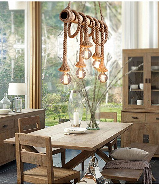 Aiwen Hemp Rope Chandelier Pendant Light Ceiling LampBulbs Not Included Brown 6 Lamp