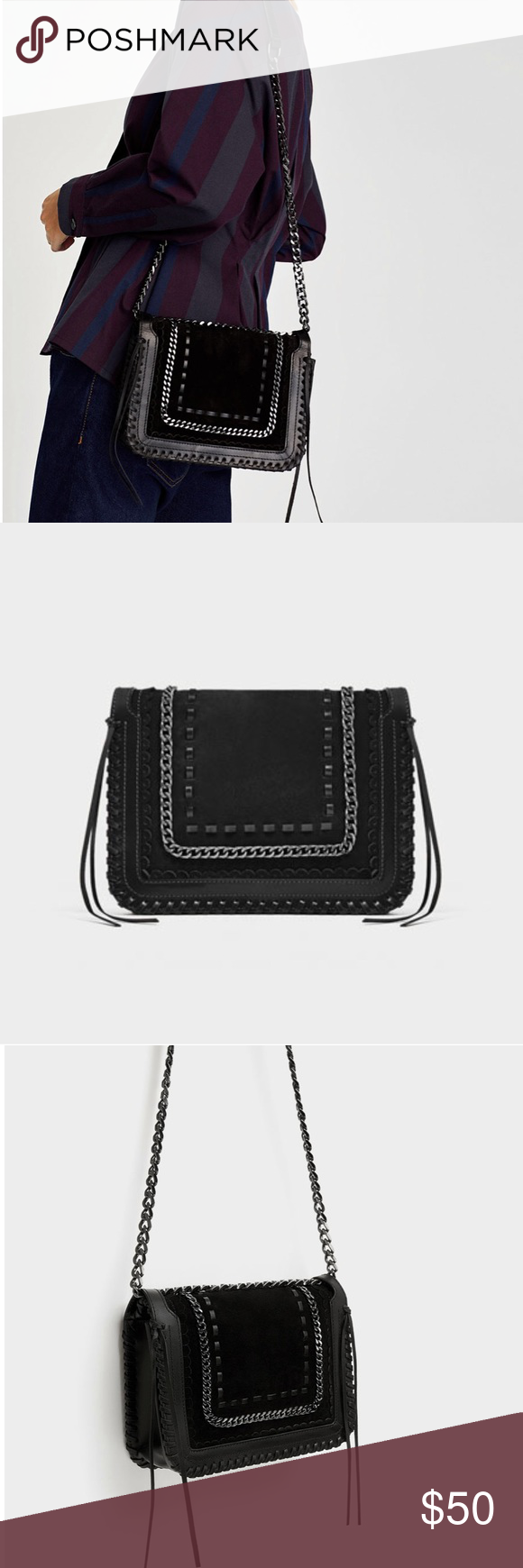 023639768a Zara crossbody bag BRAND NEW JUST TOOK OFF TAGS Black leather crossbody bag  with chain link Detail trim on front flap Features leather top stitching  around ...