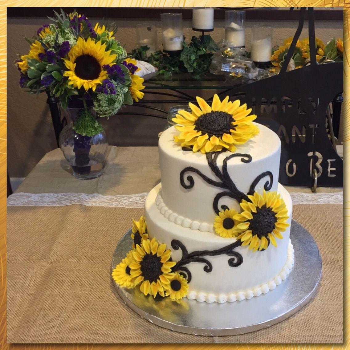 A sunflower themed wedding cake ) Themed wedding cakes