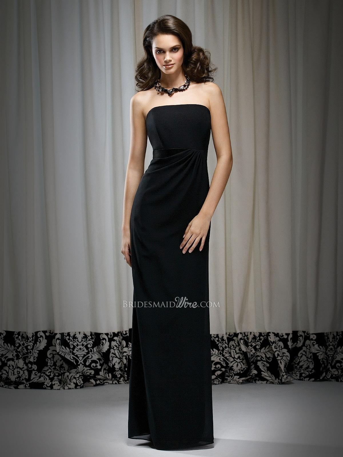 Charming Floor Length Strapless Georgette Black Draped Bridesmaid Dress.$ 498.00 Off  $193.64