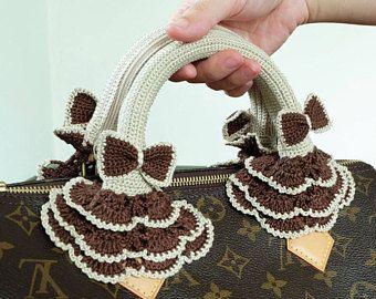 3eb7752ab1fb Cream Crochet Handles Covers Zipper Louis Vuitton LV Speedy Bag ...