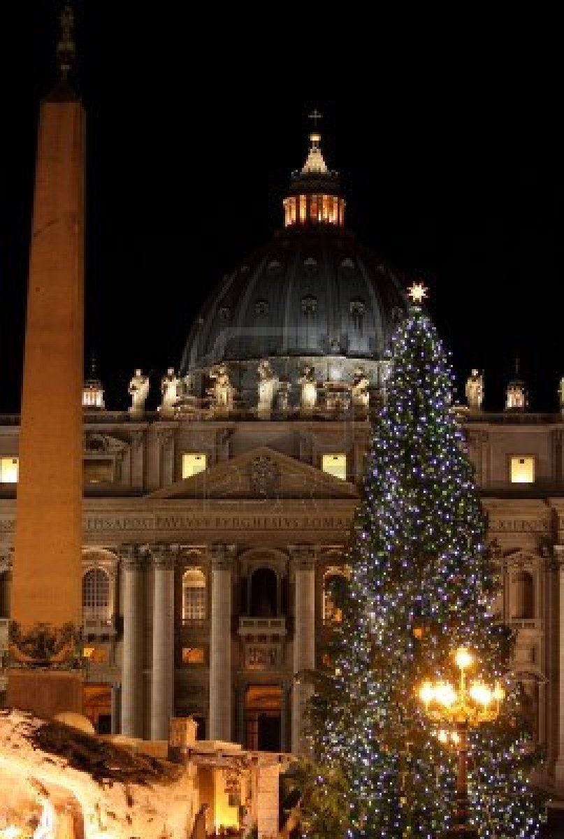 Night View Of Saint Peter Basilica In Christmas Time
