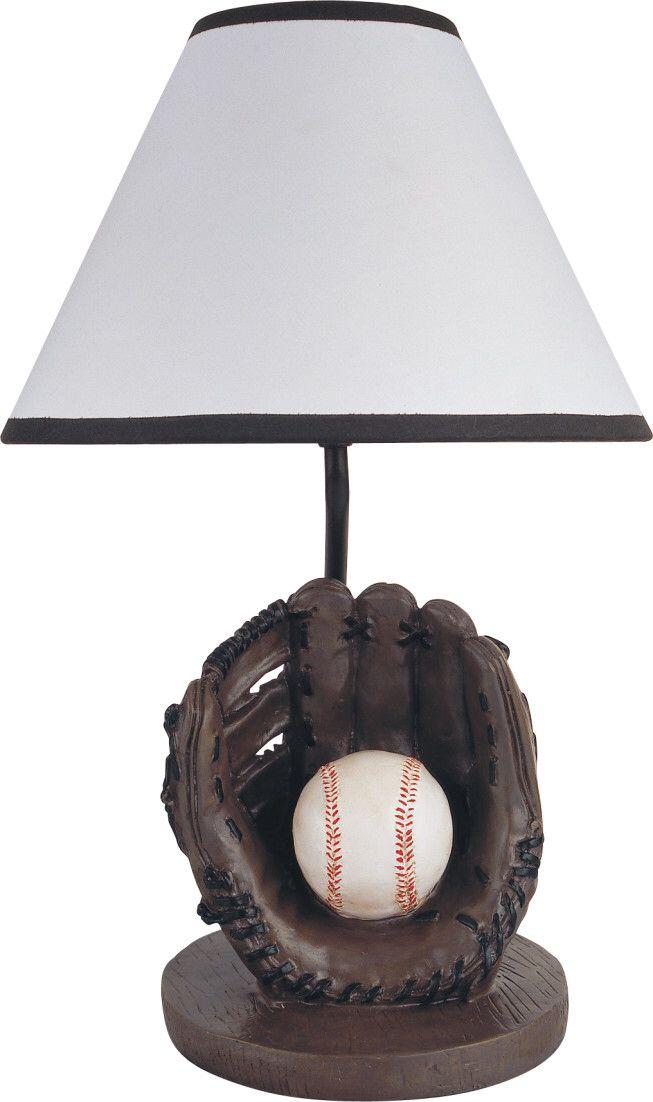 Youth Baseball 15 75 H Table Lamp With Empire Shade Baseball Table Table Lamp Green Kids Rooms