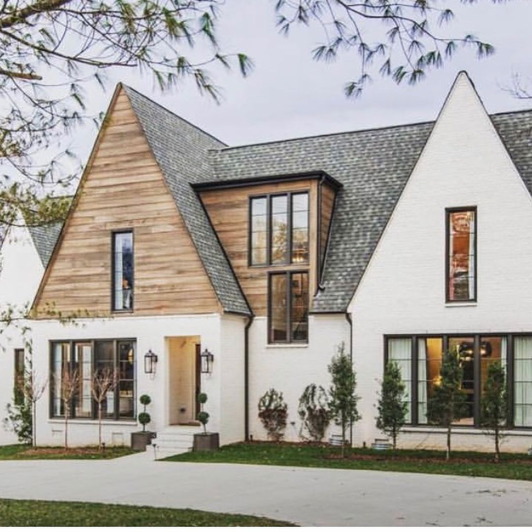 Modern French Farmhouse Exterior So Pretty Domainedevelopment Loving That Wood Detail White