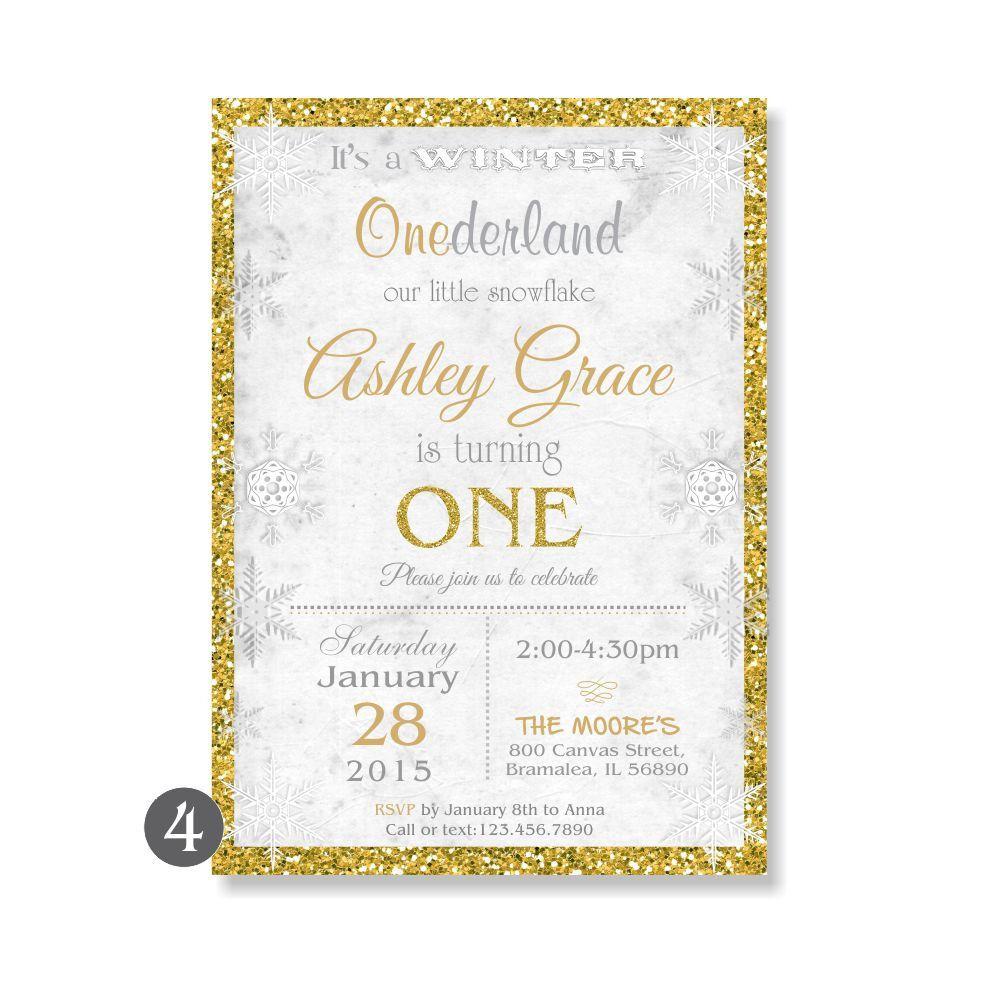 WINTER ONEDERLAND Birthday Invitation, Wonderland First 1st Pink ...