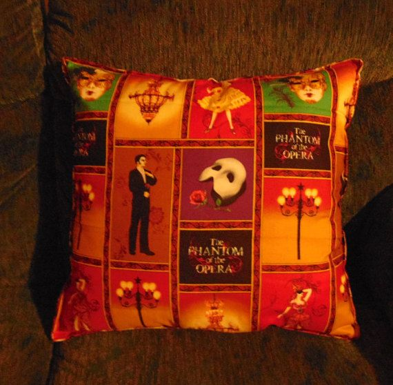 A brand new homemade toss pillow=phantom of the opera=100%cotton-pillow insert-made to order=18x18-first picture is the front and the reverse is the second picture-one pillow