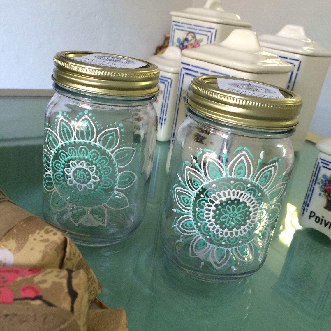 Mandalas On Jars Painting Glass Jars Mason Jar Art Glass Painting Designs