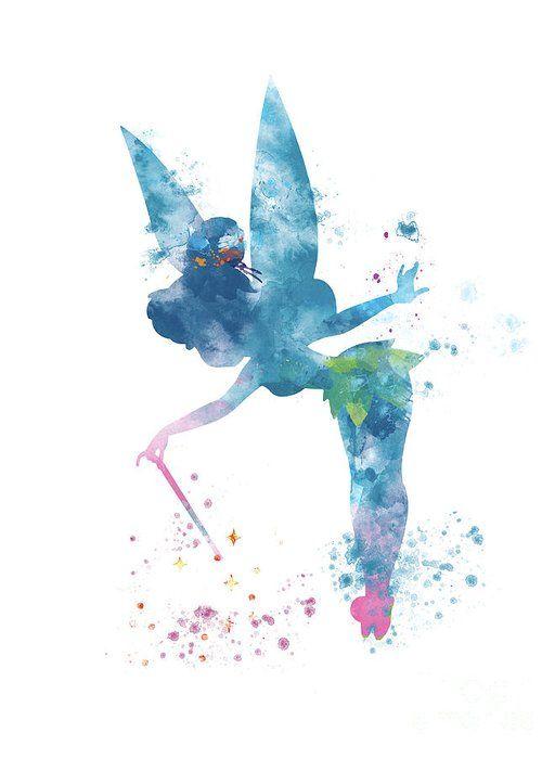 Tinkerbell Print Disney Inspired Fairy Print Watercolor Tinkerbell