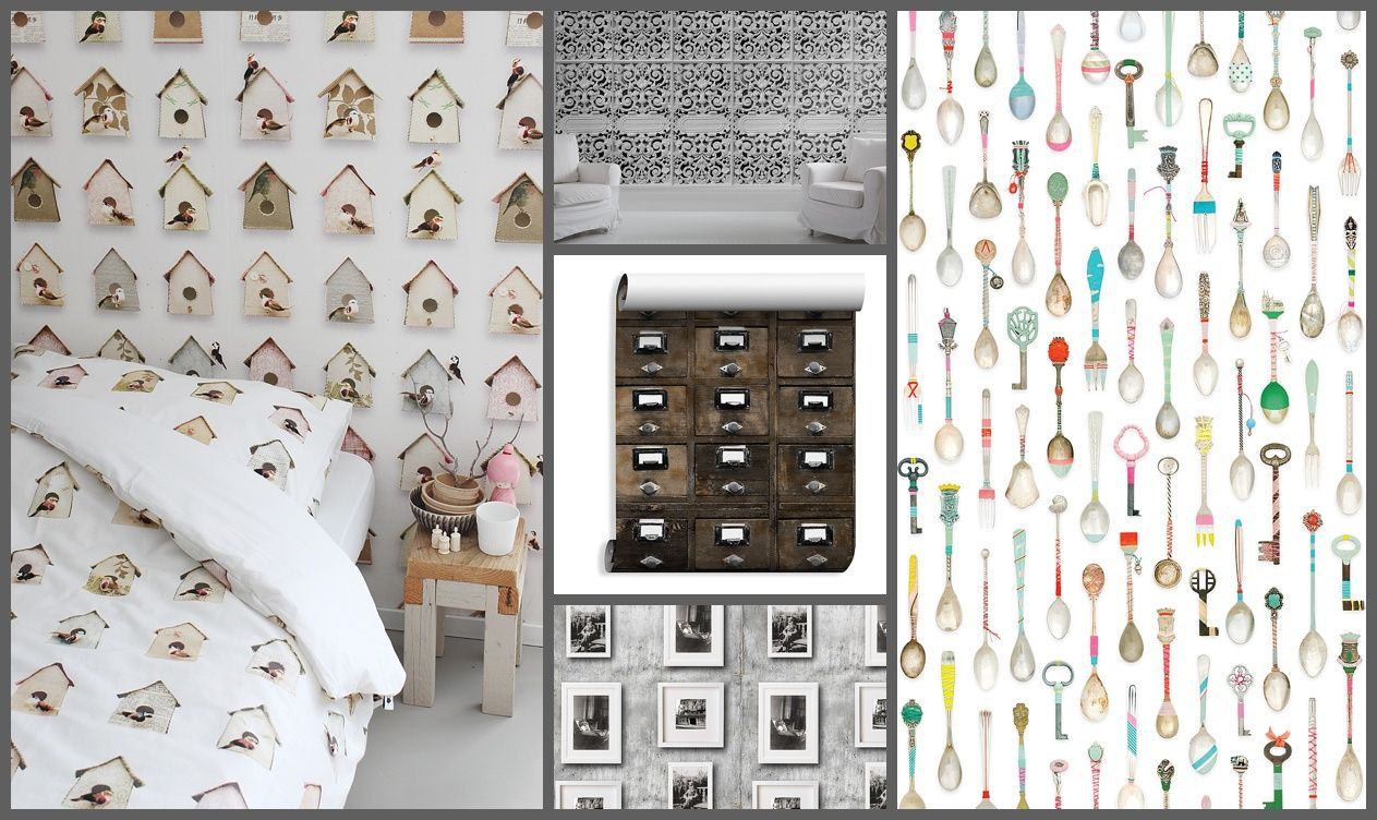 Wallpaper creatively using objects the bold the brash for Quirky wallpaper
