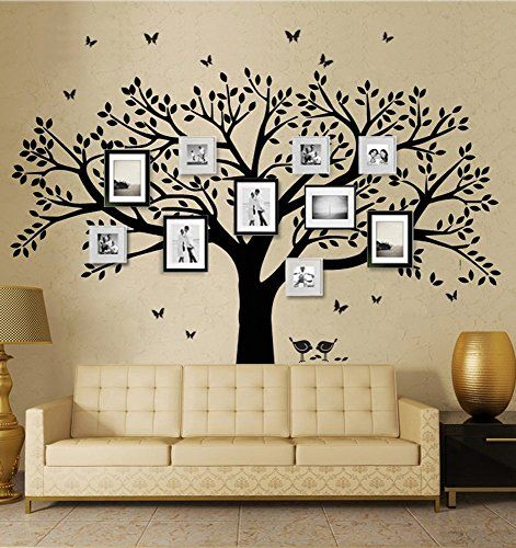 Family tree wall decals butterflies and birds wall decals vinyl wall decals photo frame tree stickers living room home decor wall sticker click image for