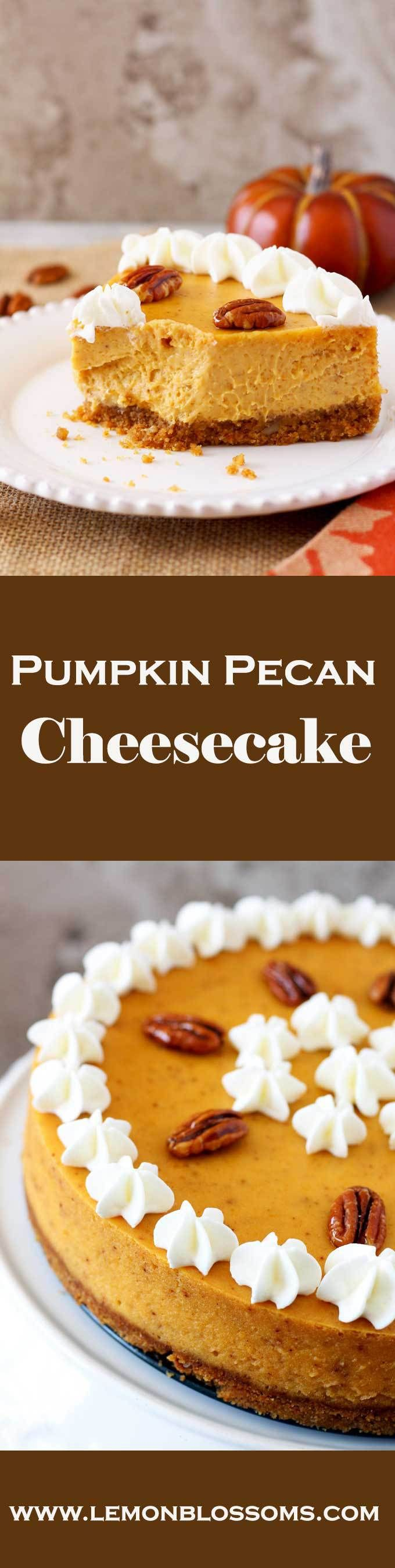 An amazing combination of creamy pumpkin spiced cheesecake with a rich graham cracker and pecan crust this Pumpkin Pecan Cheesecake combines all the fall flavors into one delicious and super creamy bite!