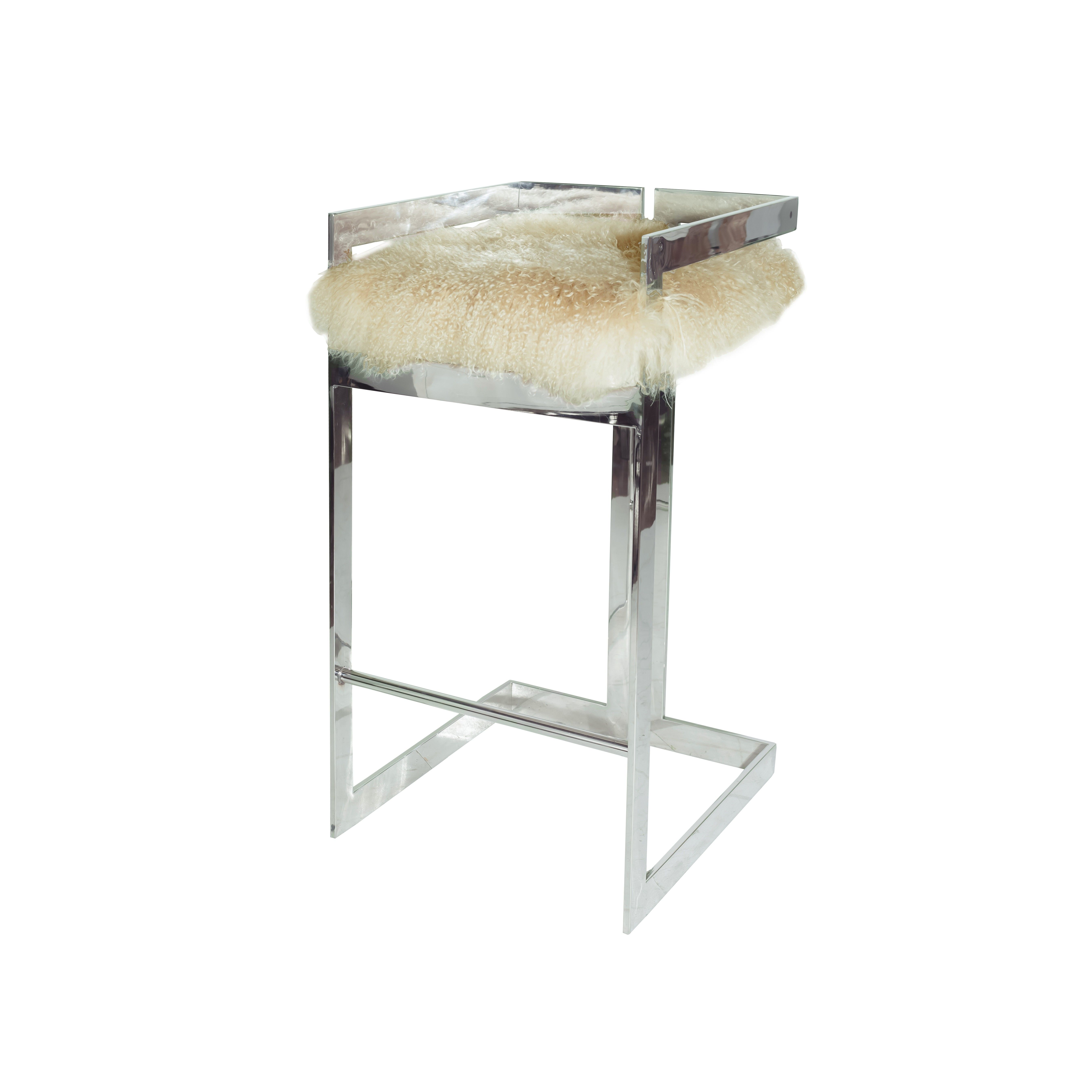Worlds Away Hearst Bar Stool with Nickel Base and f White