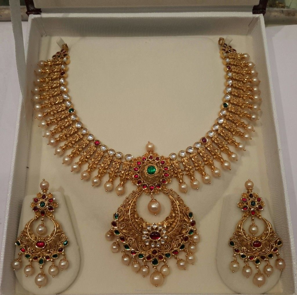 Gold pearl necklace set from mahalaxmi jewellers necklaces pearl