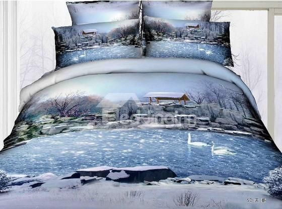 High Quality Country Snow Scene Print 4 Piece Bedding Sets Item Code: 10759186