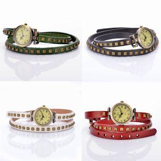 Reloj pulsera de varias vueltas en 4 colores a elegir, negro, blanco, verde y rojo...