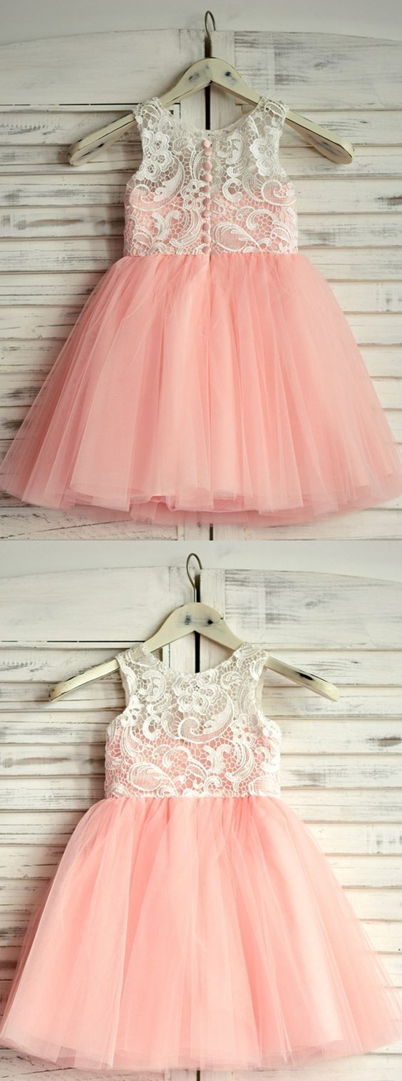 Cute pink flower girl dresses fashion party dresses for girls