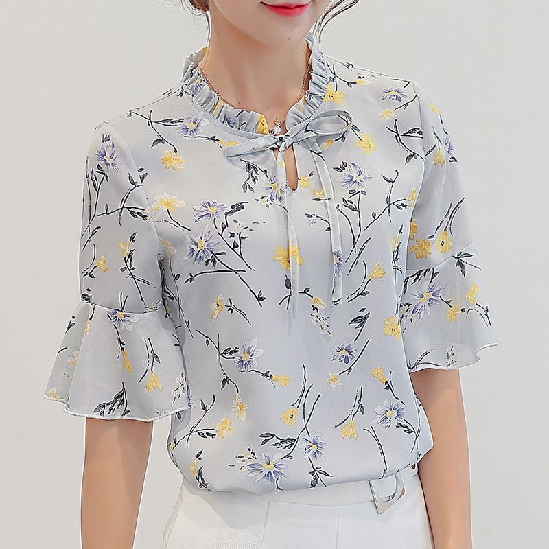33ed0067848 Women Blouses 2018 Chiffon Print Ruffles Sleeved Blusas Work Shirts For Womens  Elegant Blouses Plus Size Female Summer Tops 014