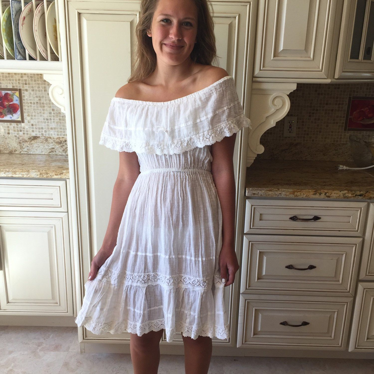 Simple white Mexican dress, off shoulder Sunny day fun. GMV   I Love ...