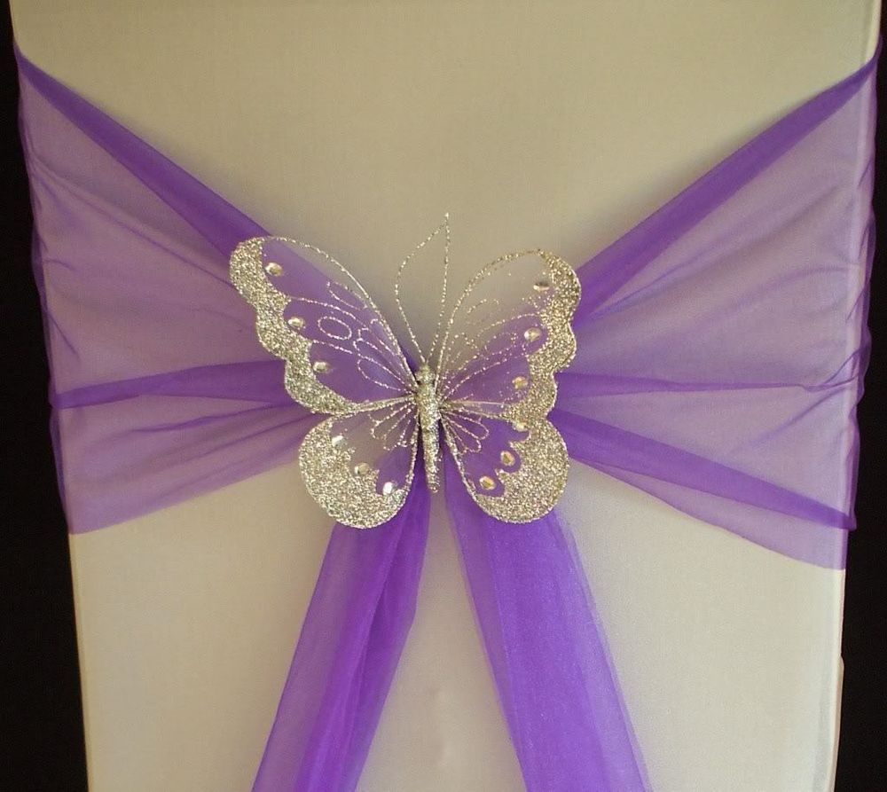 XL Butterfly Wedding Chair Sash Decoration Top Table Gold Or Silver Clip On
