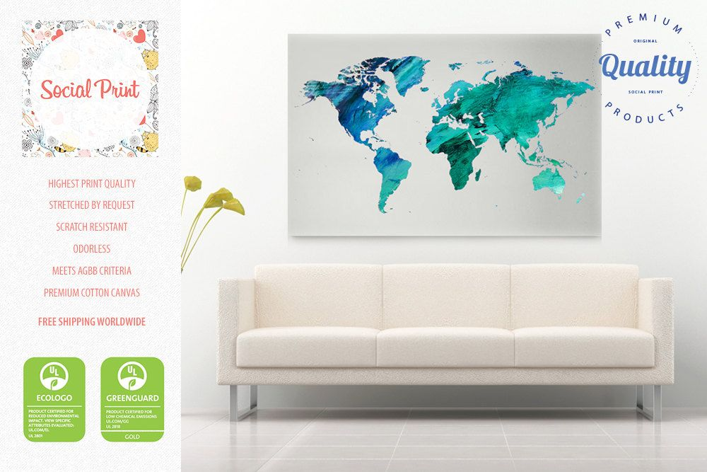 Aquamarine world map canvas print watercolor free shipping aquamarine world map canvas print watercolor free shipping world map canvas custom world map pattern world map canvas art map print gumiabroncs Gallery