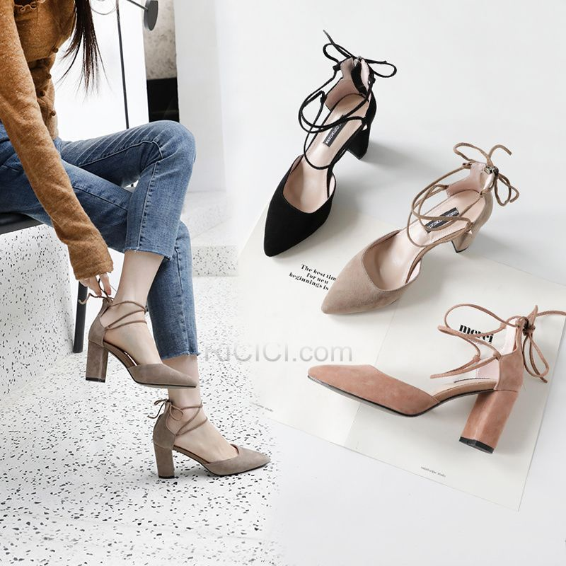 a578b86759e5 3 inch Taupe Leather Chunky Heel Pointed Toe Sandals