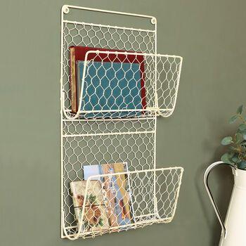 Cream Chicken Wire Contemporary Wall Magazine Rack In 2020 Magazine Rack Chicken Wire Wall Storage