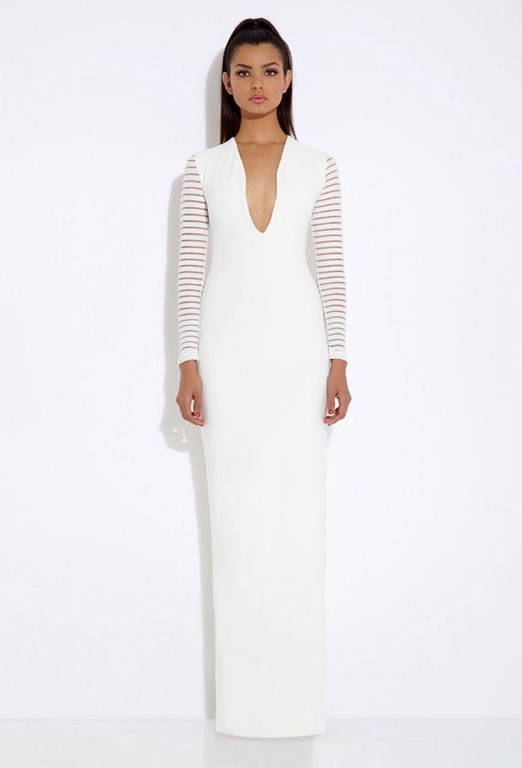Belle cream long sleeved maxi dress aqaq woman ss