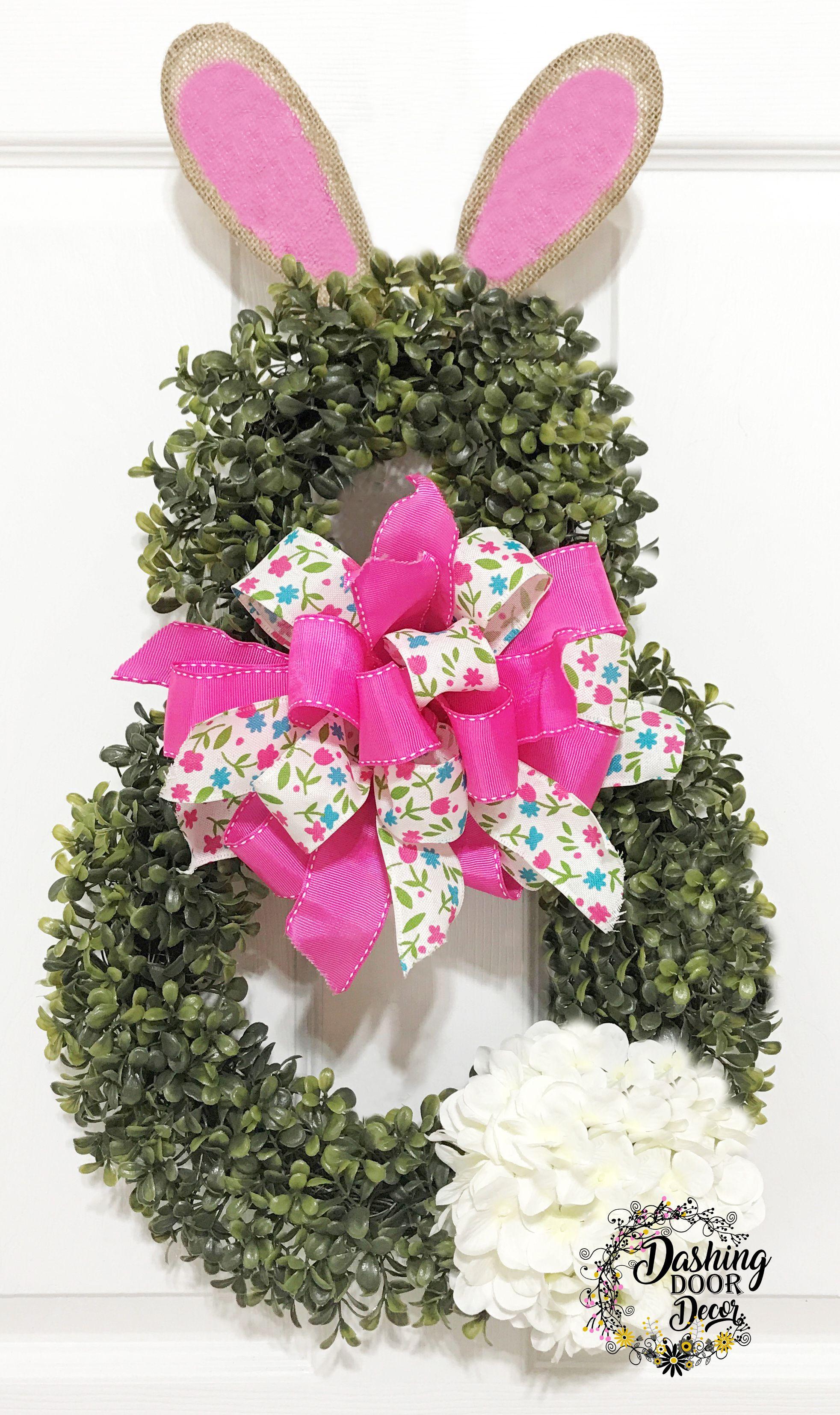 Spring or Easter Boxwood Pink Floral BUNNY Front Door Hanger ...