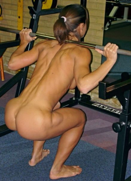 Naked women weight lifter, girl squr animated