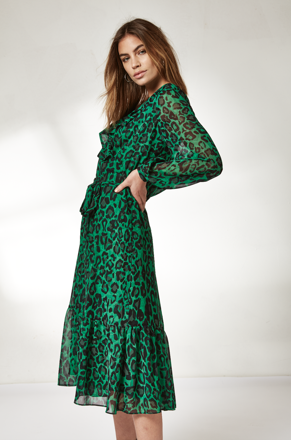 84b77048f10 Green Animal Print Midi Fit and Flare Dress in 2019