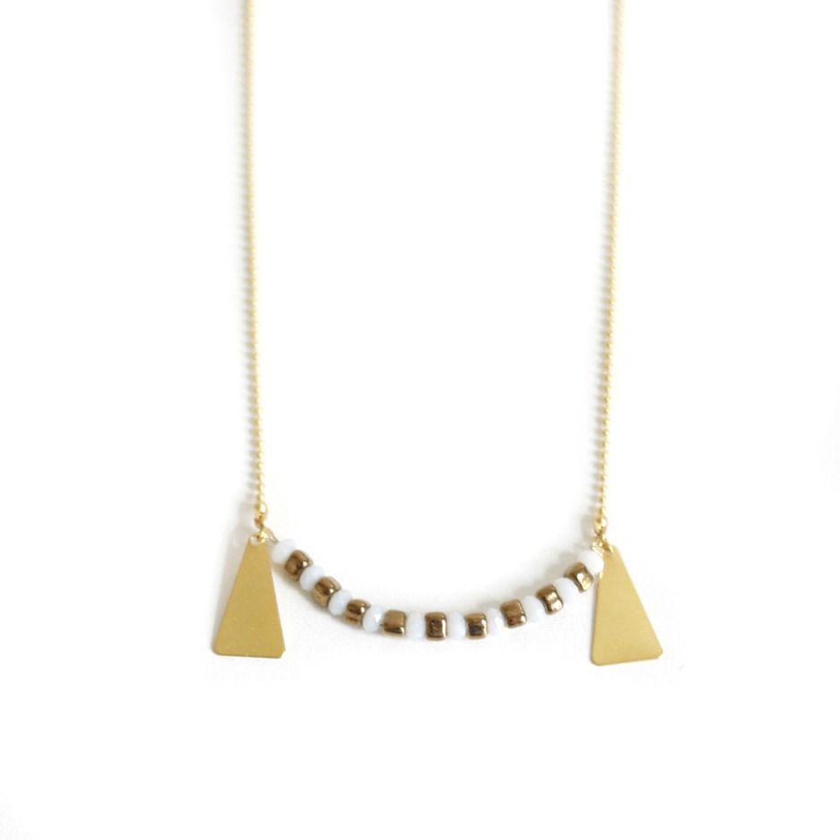 Collier précieux, bijou bohème, blanc, or, marron, perles de verre, laiton doré à l'or fin 24 carats : Collier par faraboule