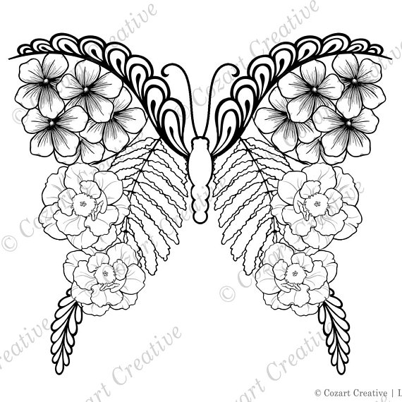 Butterfly Flower Coloring Page Cherry Blossom Peonies Tropical