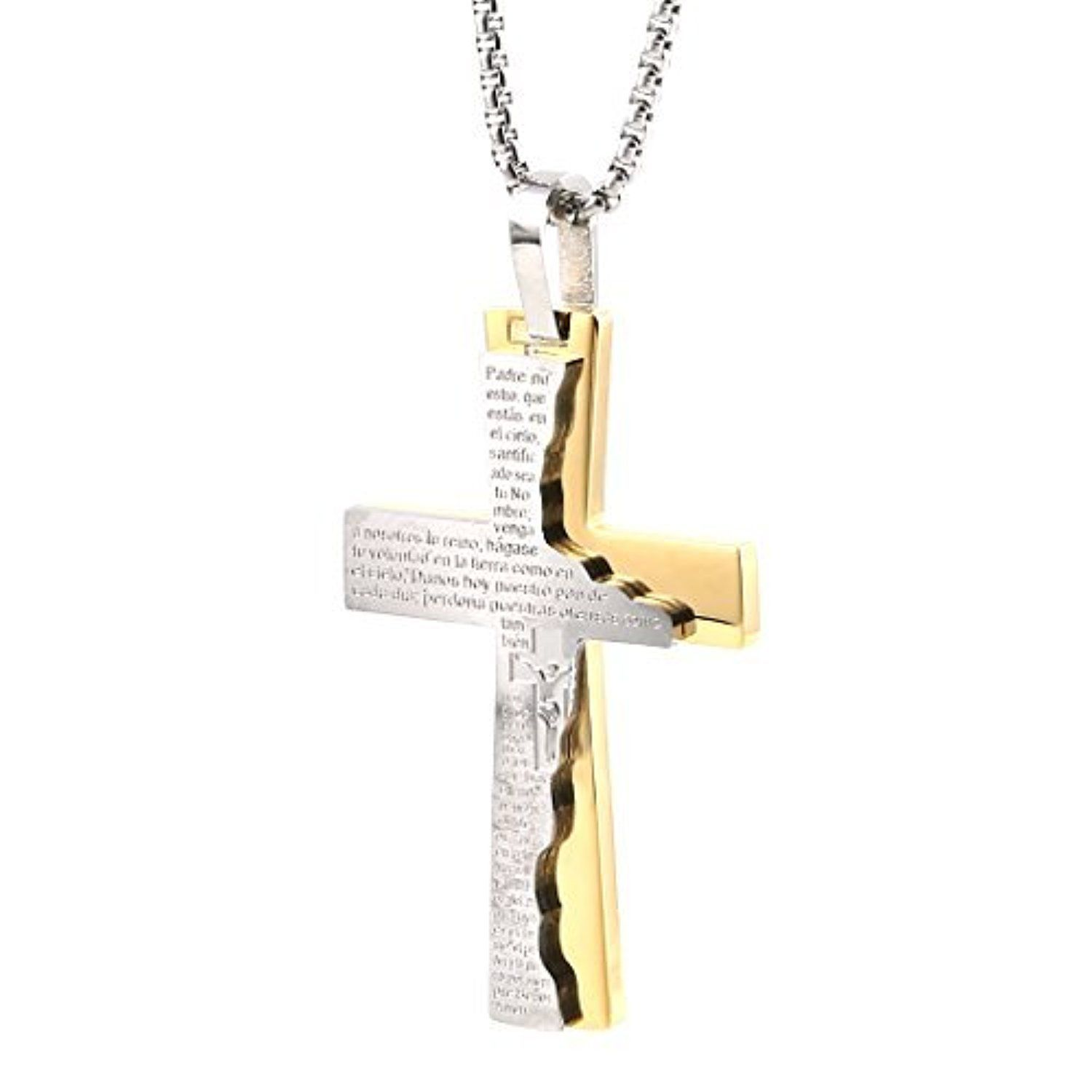Men s Stainless Steel Pendant Necklace Gold Silver Bible Lords