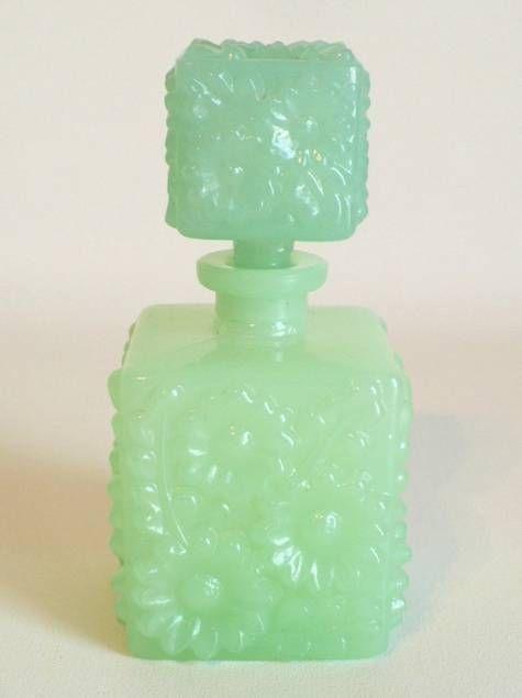 Large Antique Jadeite Glass Perfume
