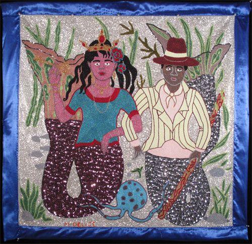 "Mireille Delice, Mariage de La Sirene et Agoue Vodou Banner (#MD1104), c. 2010. Sequins and beads on fabric, 43"" x 45"""