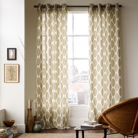 Ikat Ogee Linen Curtain Ivory Straw Home Curtains Living Room Linen Window Panel