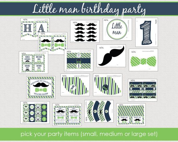 little man birthday party collection - mustache birthday - PERSONALIZED - printable  - DIY // MUST-15