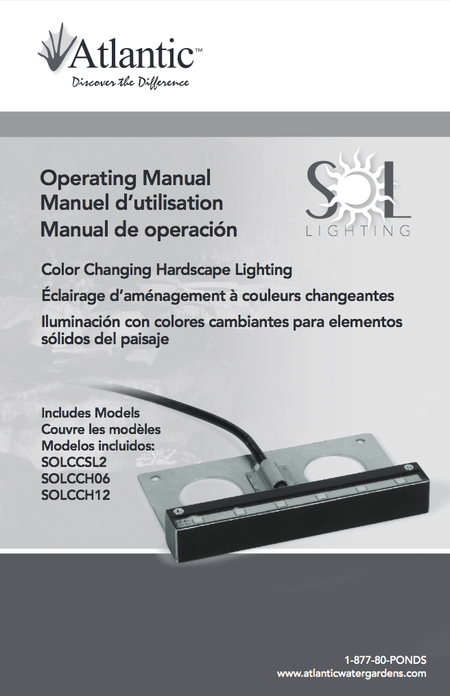 Atlantic Water Gardensu0027 Color Changing SOL Hardscape Lighting Instruction  Manual