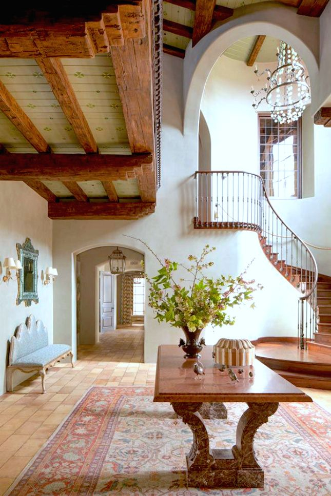 Spanish colonial staircase ideas home renovations and for Colonial foyer ideas