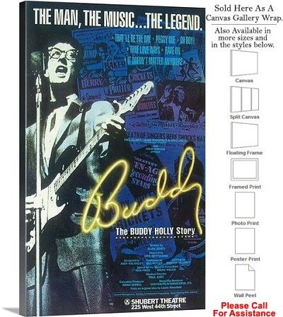 """The Buddy Holly Story 1990 Famous Broadway Musical Canvas Wrap 18"""" x 30"""""""