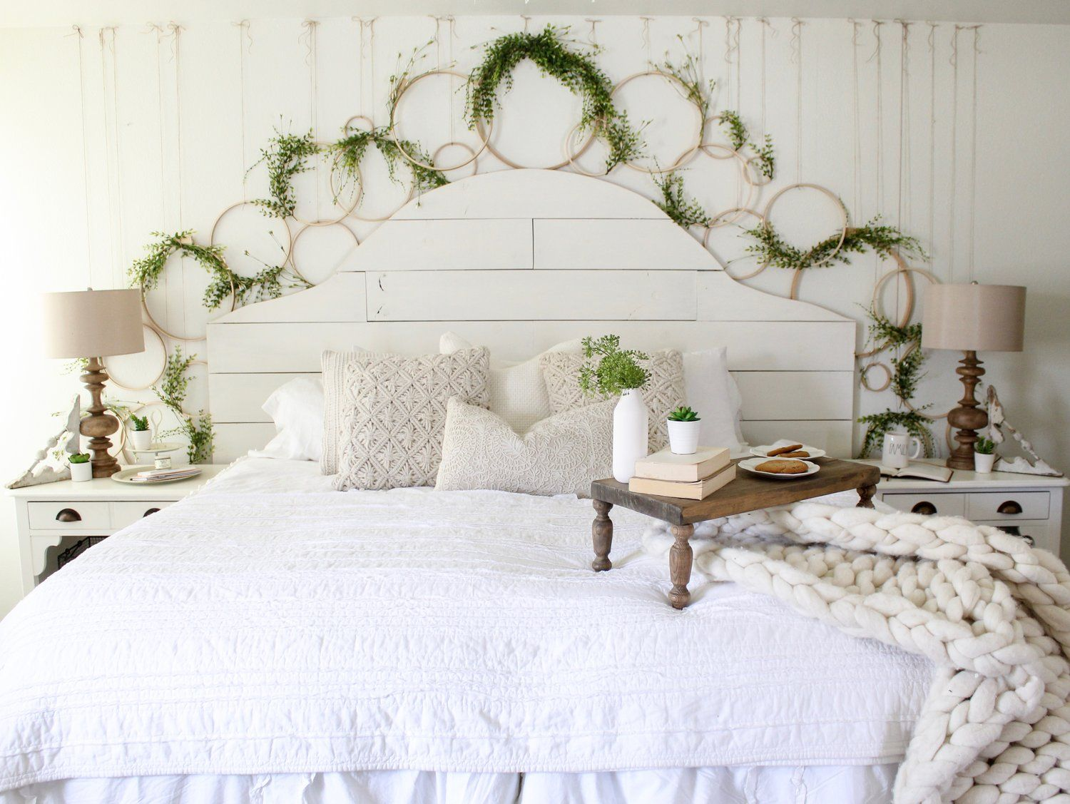 Cotton Stem Blog Farmhouse Bedroom Shiplap Spring Wreath Wall Diy